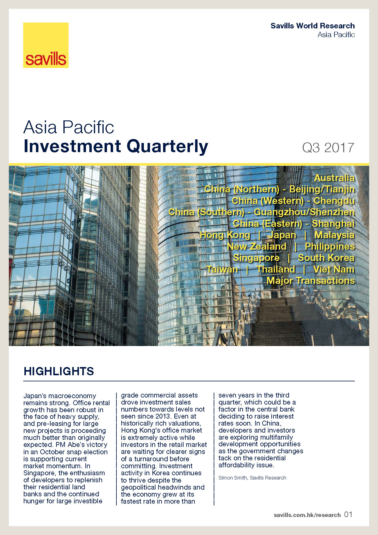 The Asia Pacific Investment Quarterly Q3 2017