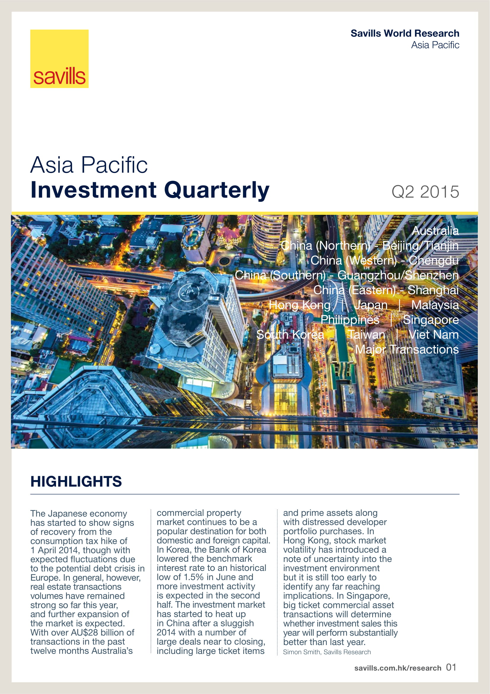 Asia Pacific Investment Quarterly Q2 2015