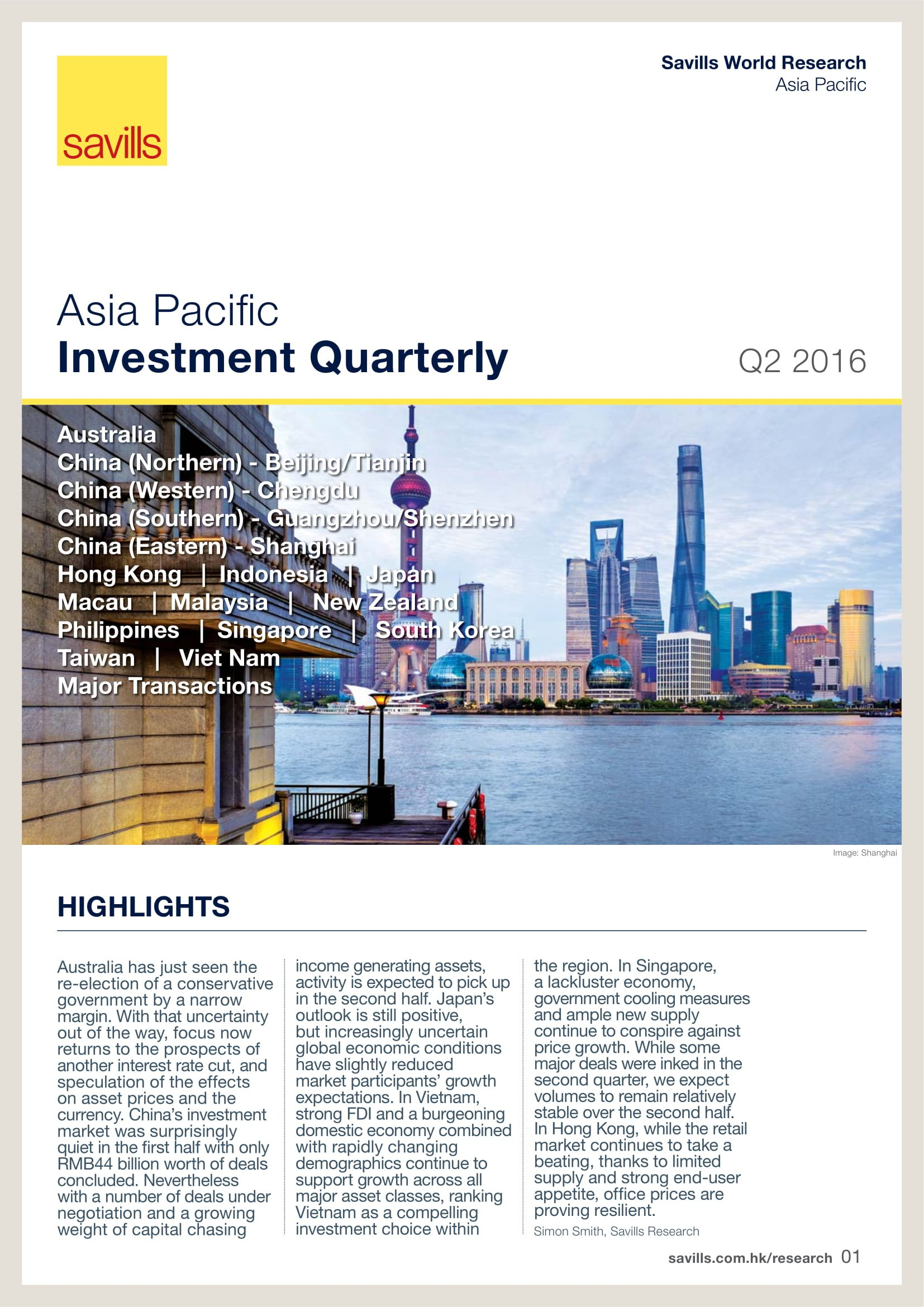 Asia Pacific Investment Quarterly Q2 2016