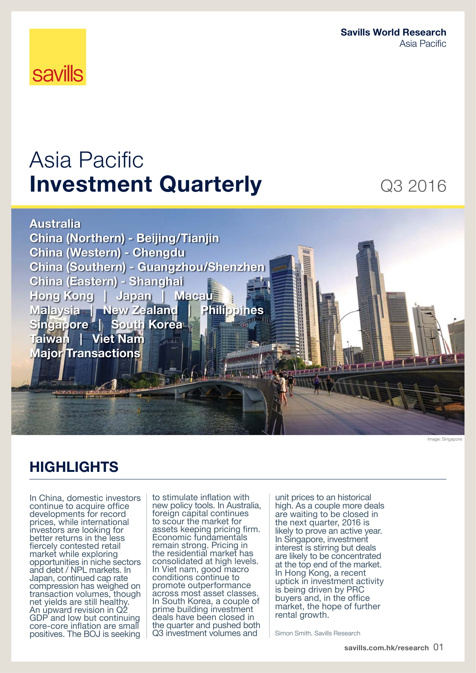 Asia Pacific Investment Quarterly Q3 2016