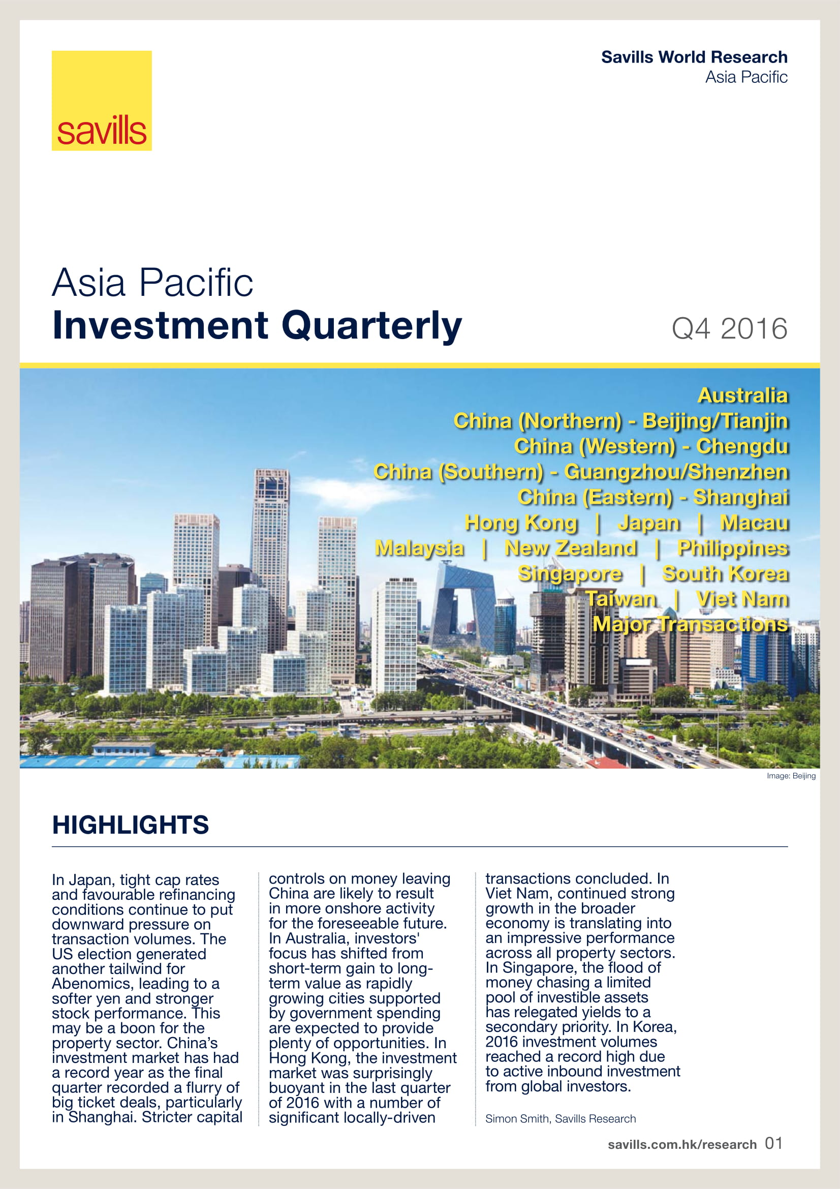 Asia Pacific Investment Quarterly Q4 2016